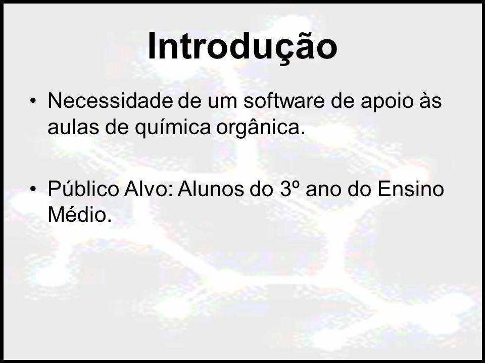 Introdução Necessidade de um software de apoio às aulas de química orgânica.