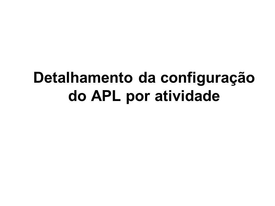 Detalhamento da configuração do APL por atividade