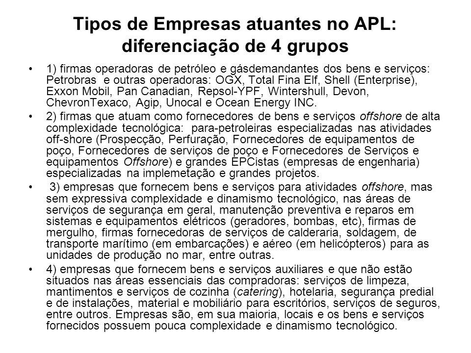 Tipos de Empresas atuantes no APL: diferenciação de 4 grupos