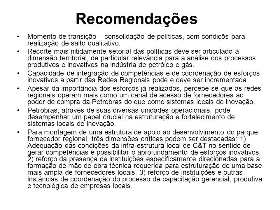 Recomendações Momento de transição – consolidação de políticas, com condiçõs para realização de salto qualitativo.