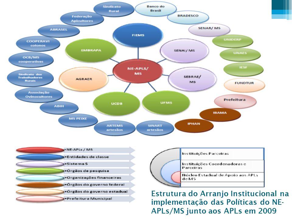 Estrutura do Arranjo Institucional na implementação das Políticas do NE-APLs/MS junto aos APLs em 2009