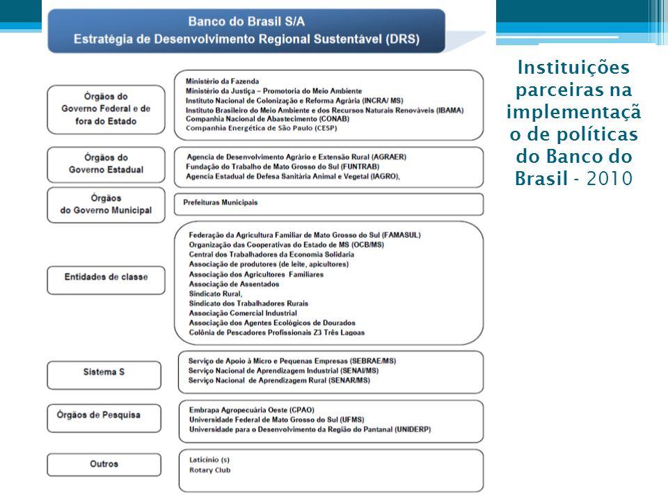 Instituições parceiras na implementação de políticas do Banco do Brasil - 2010