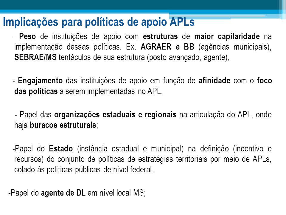 Implicações para políticas de apoio APLs