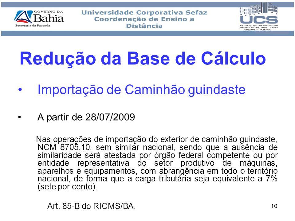 Redução da Base de Cálculo
