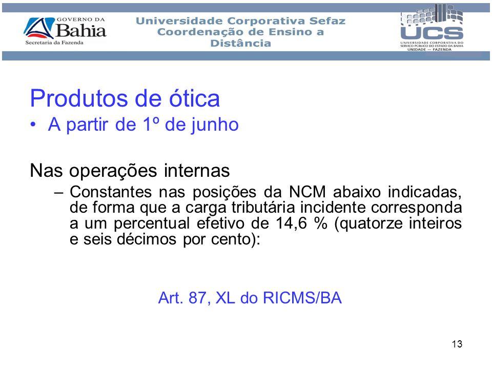 Produtos de ótica A partir de 1º de junho Nas operações internas