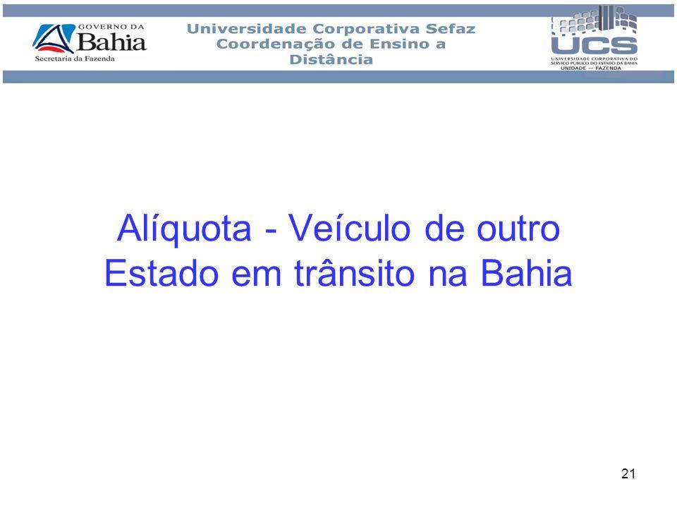 Alíquota - Veículo de outro Estado em trânsito na Bahia