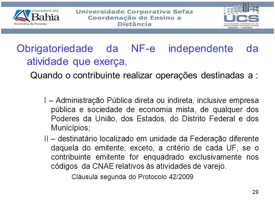 Obrigatoriedade da NF-e independente da atividade que exerça.
