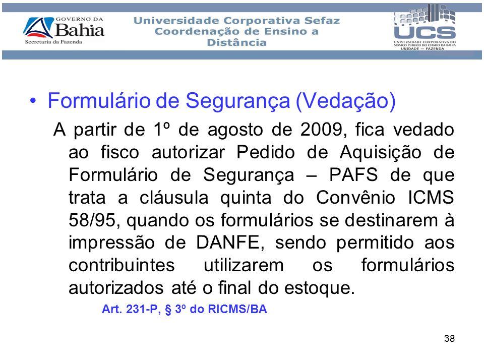 Formulário de Segurança (Vedação)