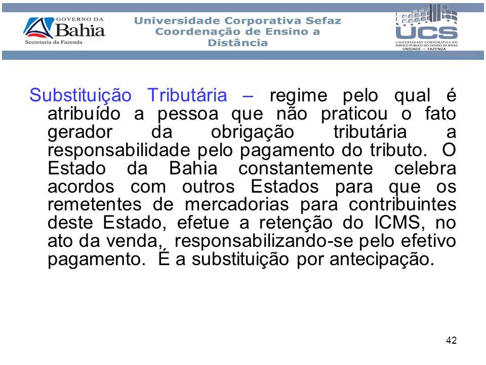 Substituição Tributária – regime pelo qual é atribuído a pessoa que não praticou o fato gerador da obrigação tributária a responsabilidade pelo pagamento do tributo.