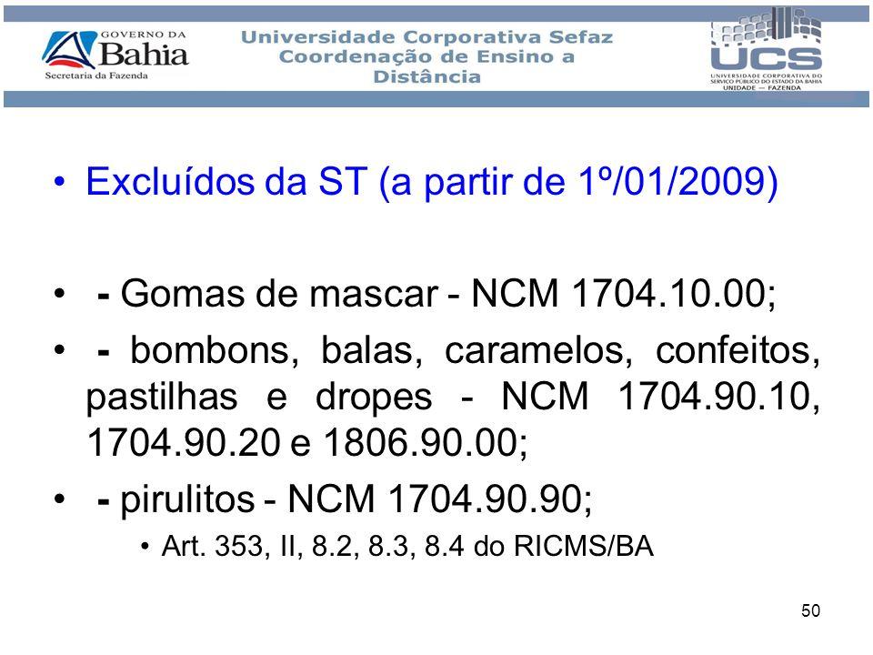Excluídos da ST (a partir de 1º/01/2009)
