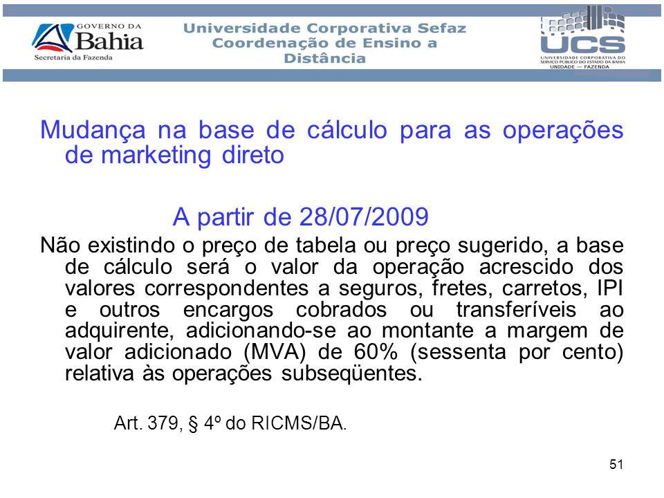 Mudança na base de cálculo para as operações de marketing direto