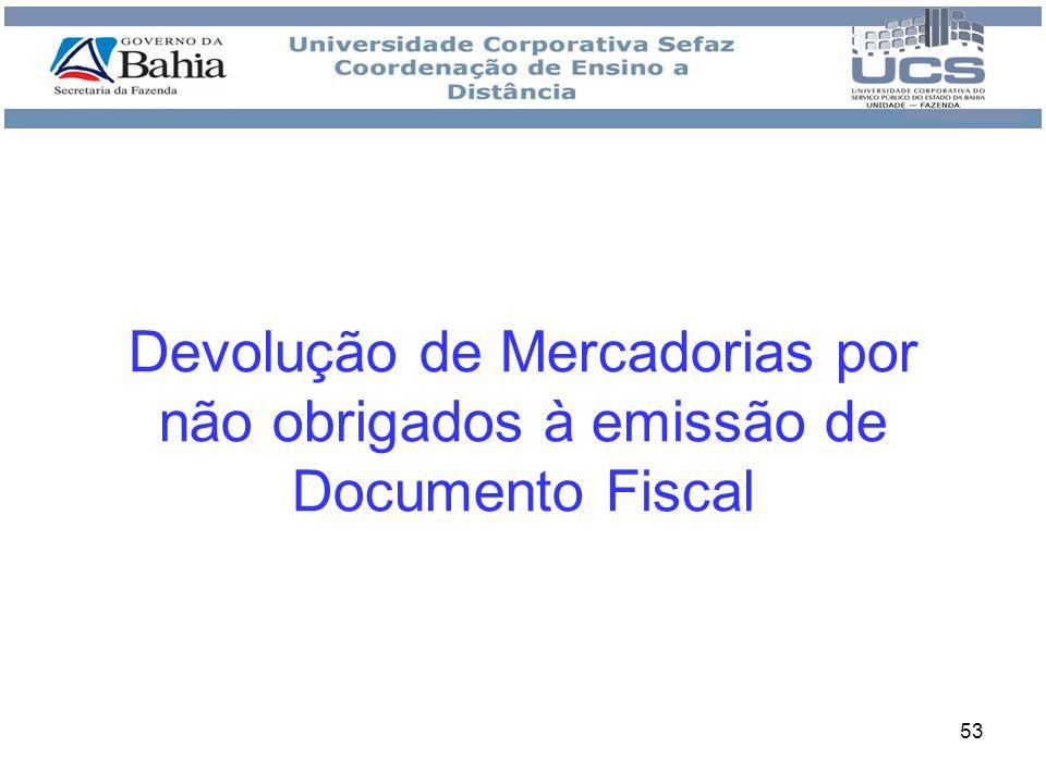 Devolução de Mercadorias por não obrigados à emissão de Documento Fiscal