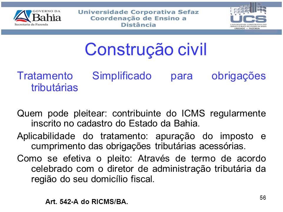Construção civil Tratamento Simplificado para obrigações tributárias