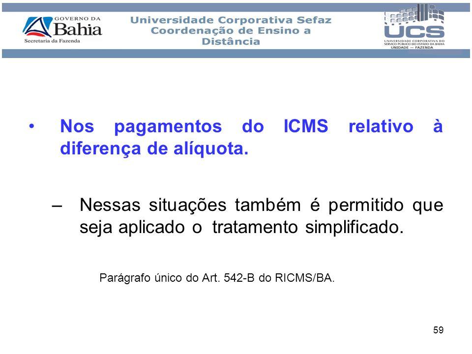 Nos pagamentos do ICMS relativo à diferença de alíquota.