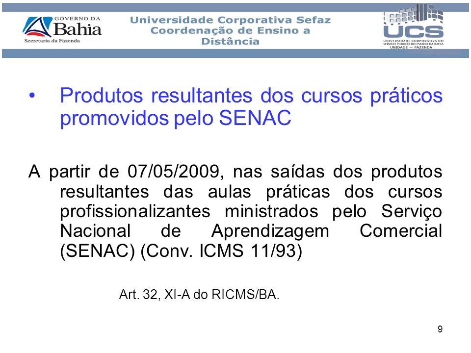 Produtos resultantes dos cursos práticos promovidos pelo SENAC