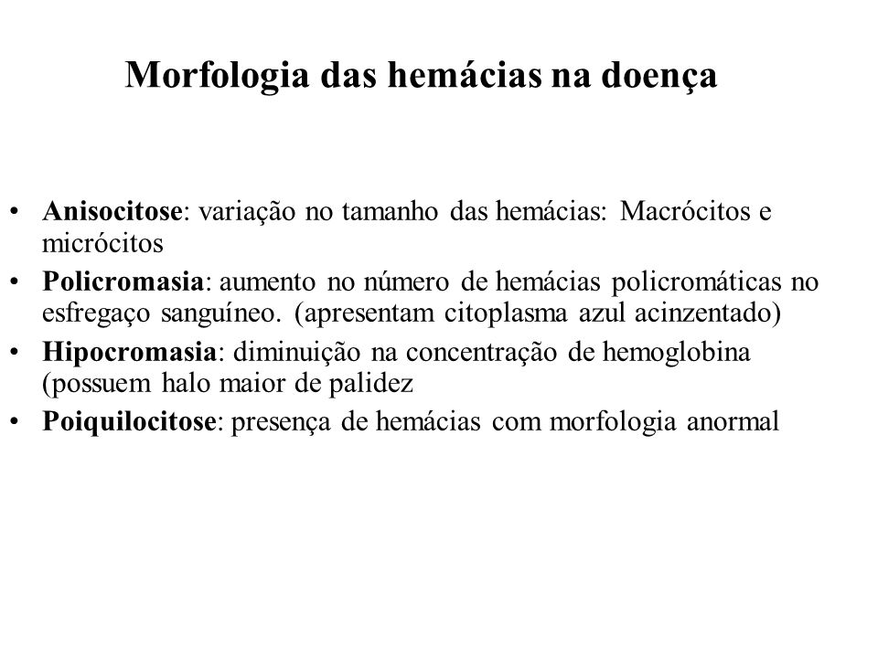 Morfologia das hemácias na doença