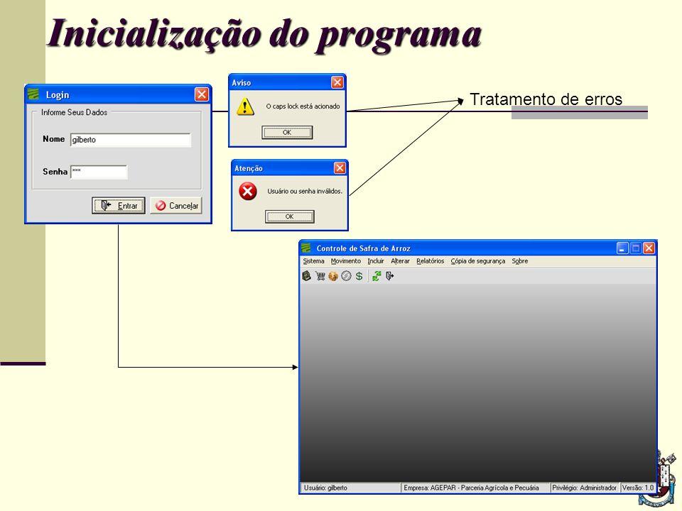 Inicialização do programa