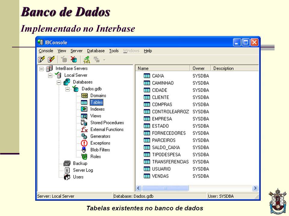 Banco de Dados Implementado no Interbase