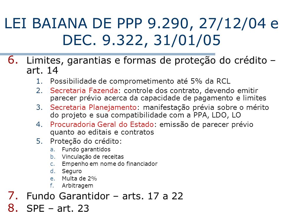LEI BAIANA DE PPP 9.290, 27/12/04 e DEC. 9.322, 31/01/05