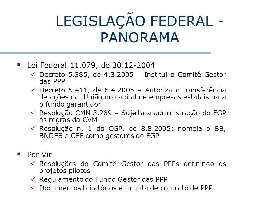 LEGISLAÇÃO FEDERAL - PANORAMA