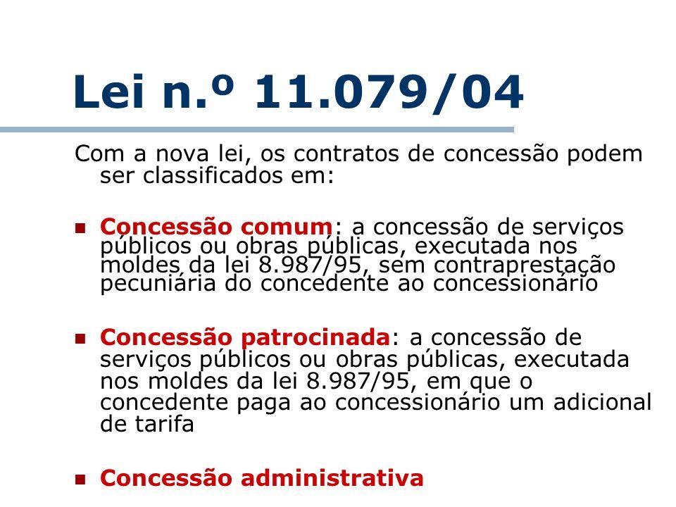 Lei n.º 11.079/04Com a nova lei, os contratos de concessão podem ser classificados em: