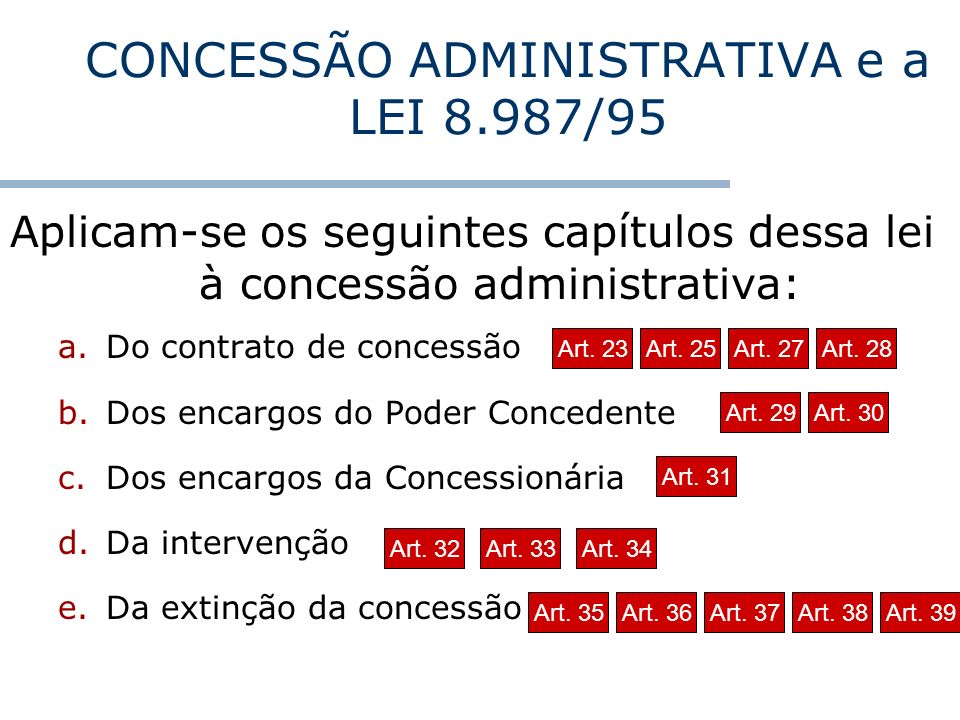 CONCESSÃO ADMINISTRATIVA e a LEI 8.987/95