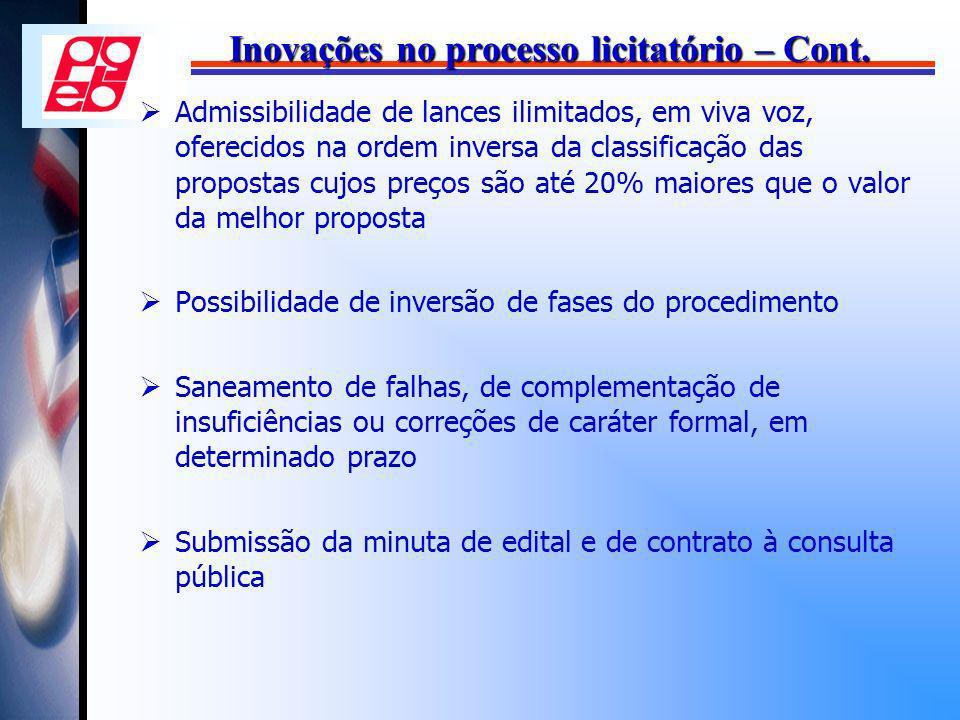 Inovações no processo licitatório – Cont.