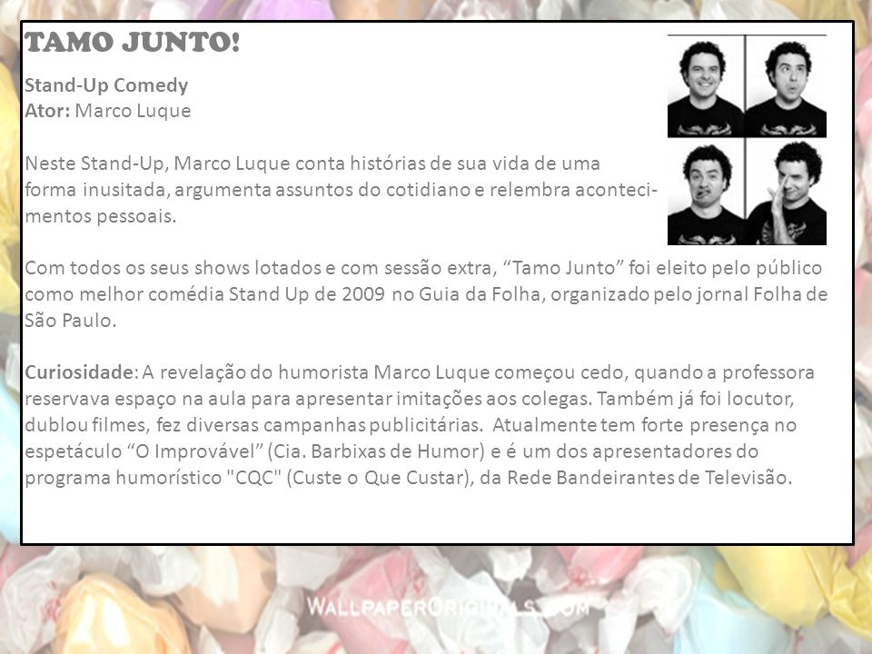 TAMO JUNTO! Stand-Up Comedy Ator: Marco Luque