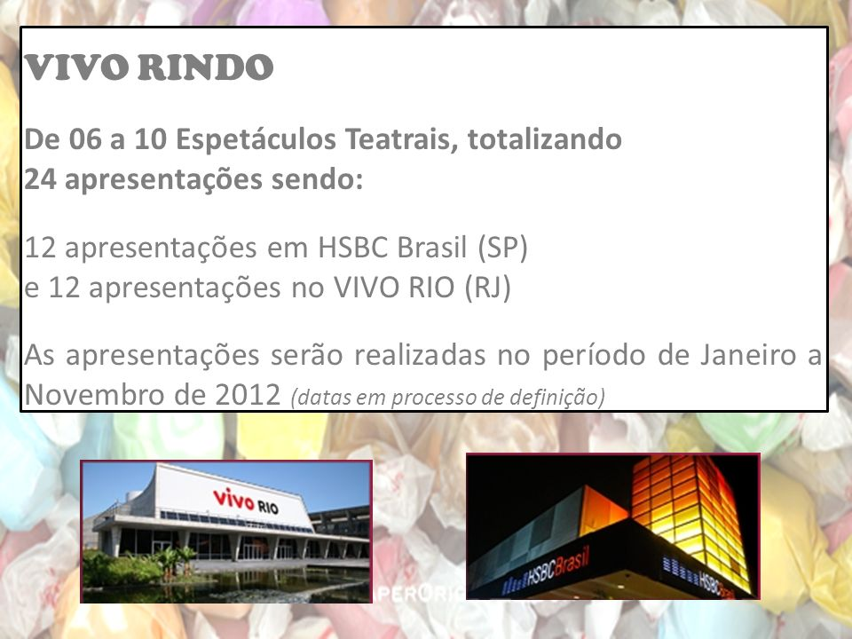 VIVO RINDO De 06 a 10 Espetáculos Teatrais, totalizando