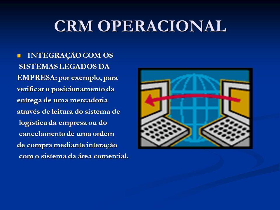 CRM OPERACIONAL INTEGRAÇÃO COM OS SISTEMAS LEGADOS DA
