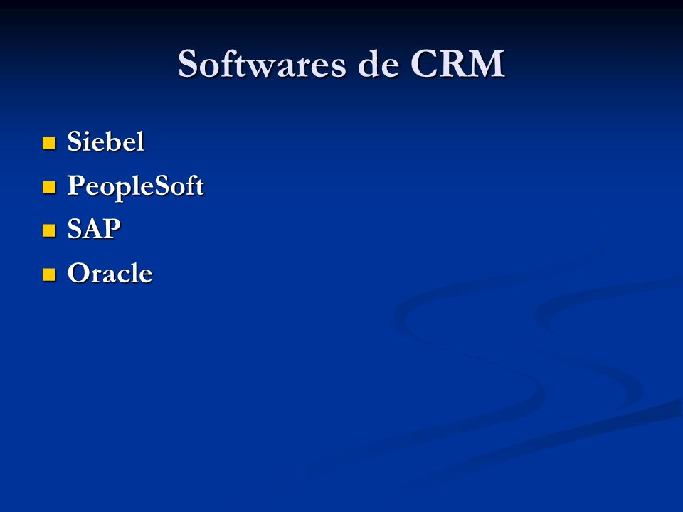 Softwares de CRM Siebel PeopleSoft SAP Oracle