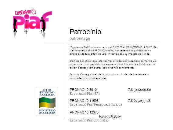 Patrocínio patronnage PRONAC 10 3910 R$ 542.066,80 Esperando Piaf (SP)