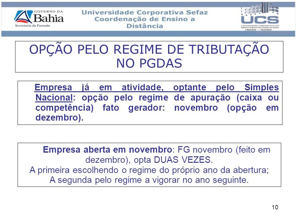 OPÇÃO PELO REGIME DE TRIBUTAÇÃO NO PGDAS