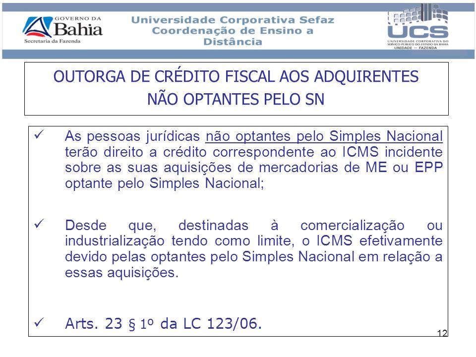 OUTORGA DE CRÉDITO FISCAL AOS ADQUIRENTES NÃO OPTANTES PELO SN