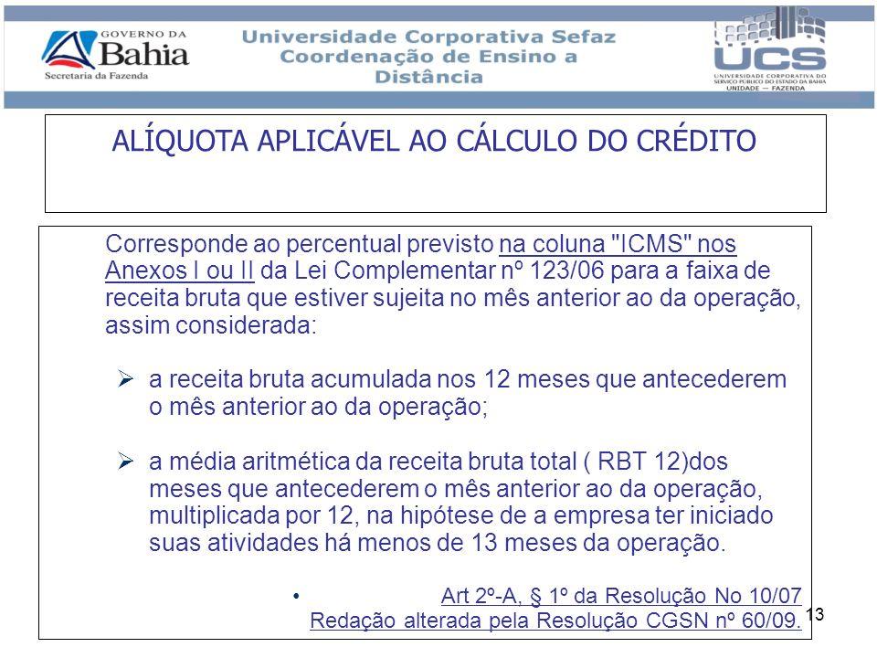 ALÍQUOTA APLICÁVEL AO CÁLCULO DO CRÉDITO