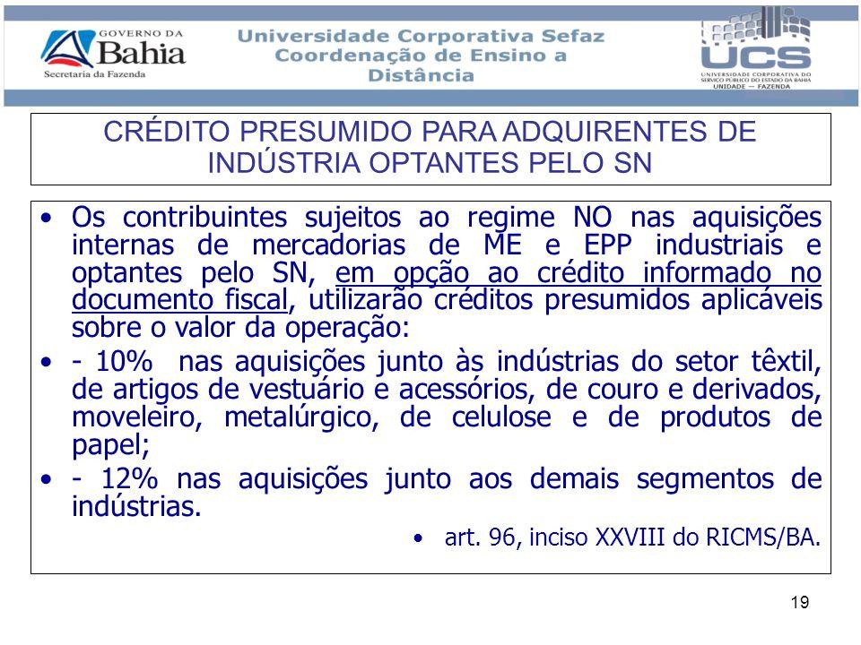CRÉDITO PRESUMIDO PARA ADQUIRENTES DE INDÚSTRIA OPTANTES PELO SN