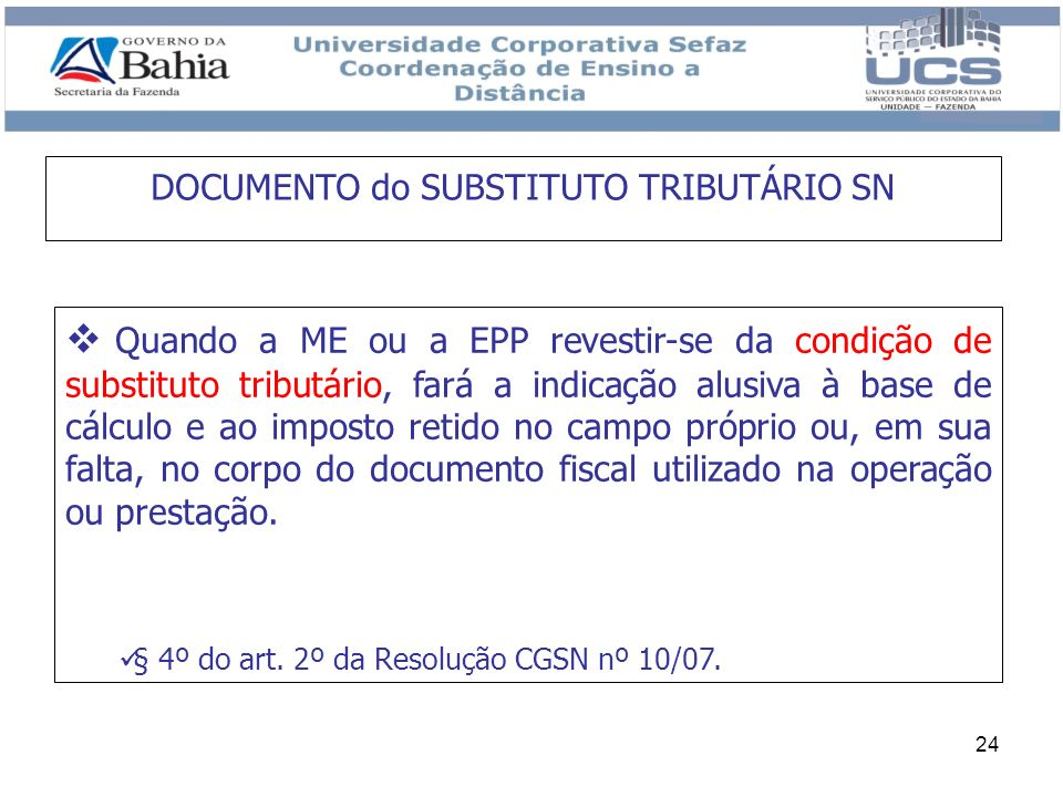 DOCUMENTO do SUBSTITUTO TRIBUTÁRIO SN