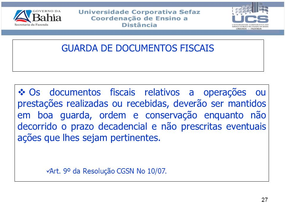 GUARDA DE DOCUMENTOS FISCAIS