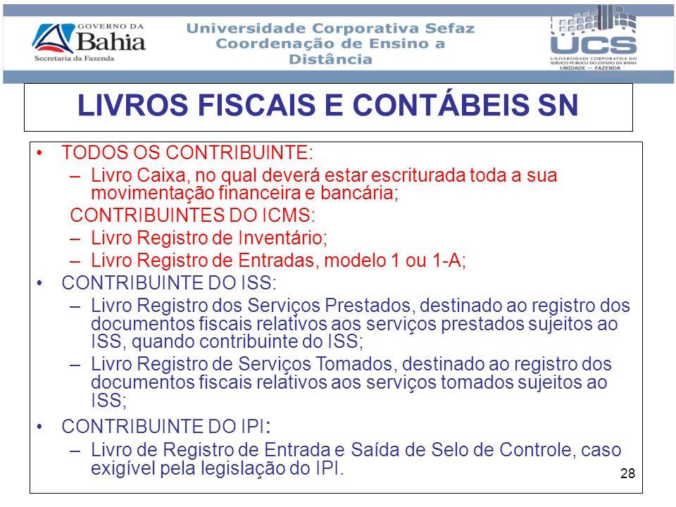 LIVROS FISCAIS E CONTÁBEIS SN