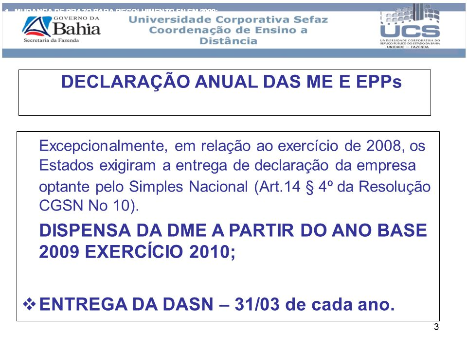 DECLARAÇÃO ANUAL DAS ME E EPPs