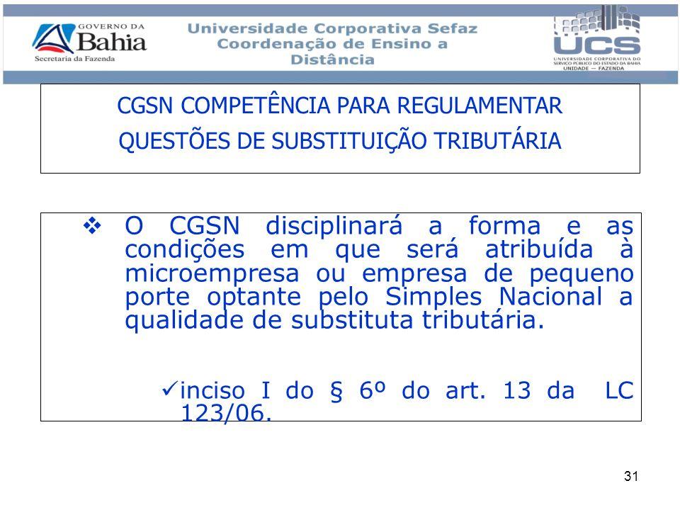 CGSN COMPETÊNCIA PARA REGULAMENTAR QUESTÕES DE SUBSTITUIÇÃO TRIBUTÁRIA