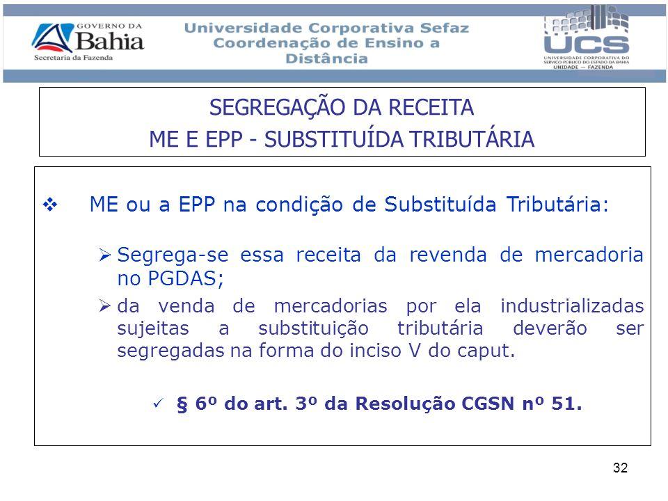 SEGREGAÇÃO DA RECEITA ME E EPP - SUBSTITUÍDA TRIBUTÁRIA