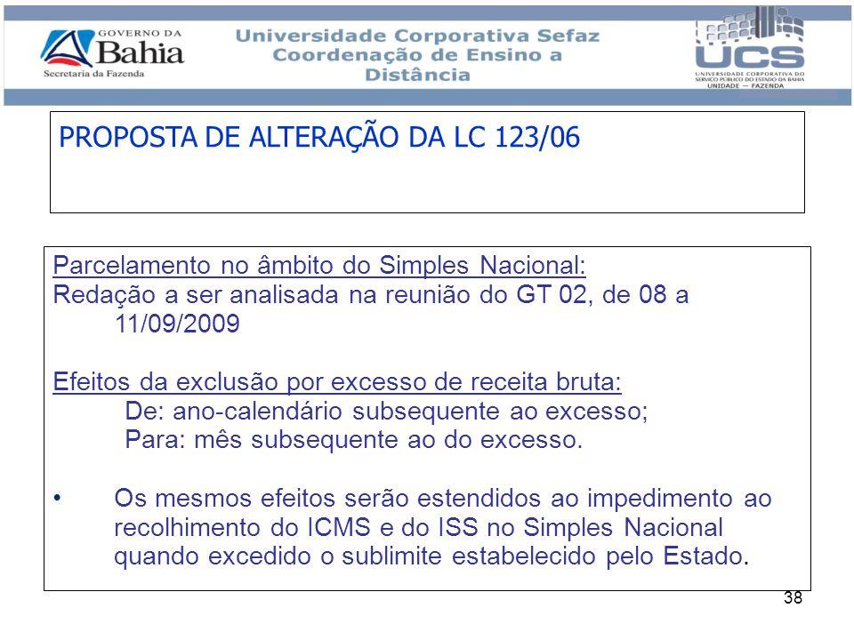 PROPOSTA DE ALTERAÇÃO DA LC 123/06