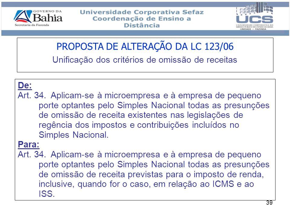 PROPOSTA DE ALTERAÇÃO DA LC 123/06 Unificação dos critérios de omissão de receitas