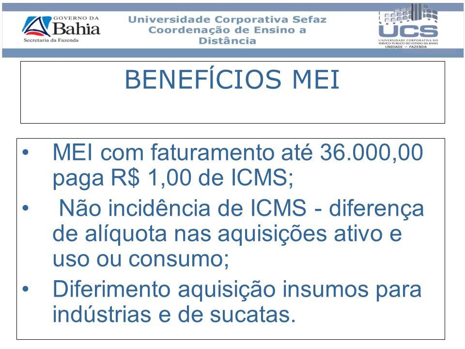 BENEFÍCIOS MEI MEI com faturamento até 36.000,00 paga R$ 1,00 de ICMS;