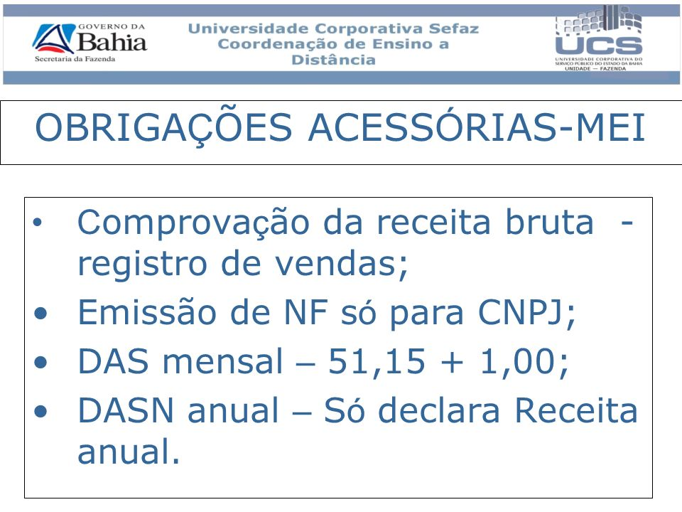 OBRIGAÇÕES ACESSÓRIAS-MEI