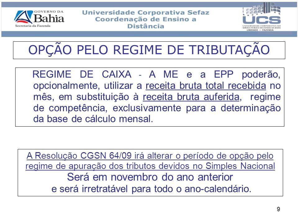 OPÇÃO PELO REGIME DE TRIBUTAÇÃO
