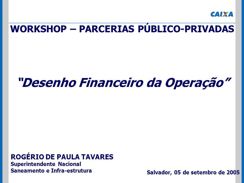 WORKSHOP – PARCERIAS PÚBLICO-PRIVADAS Desenho Financeiro da Operação