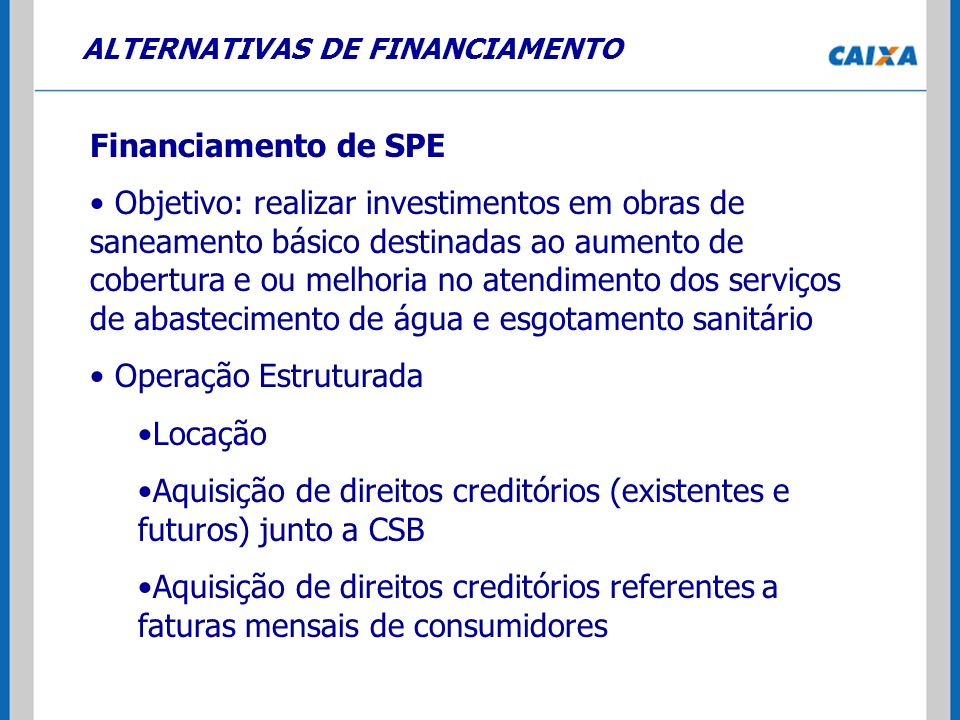 ALTERNATIVAS DE FINANCIAMENTO