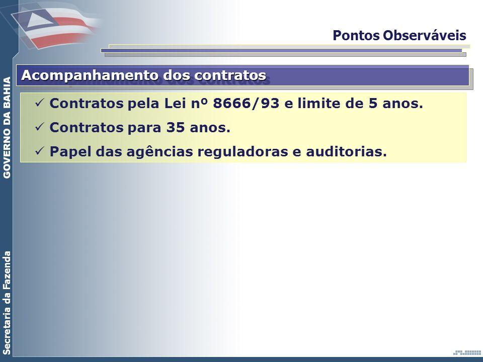Pontos Observáveis Acompanhamento dos contratos. Contratos pela Lei nº 8666/93 e limite de 5 anos.
